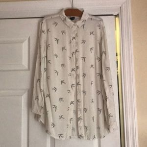 White button down with birds